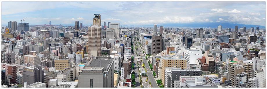 松屋タワー正面・西側の眺望(心斎橋・なんば方面)